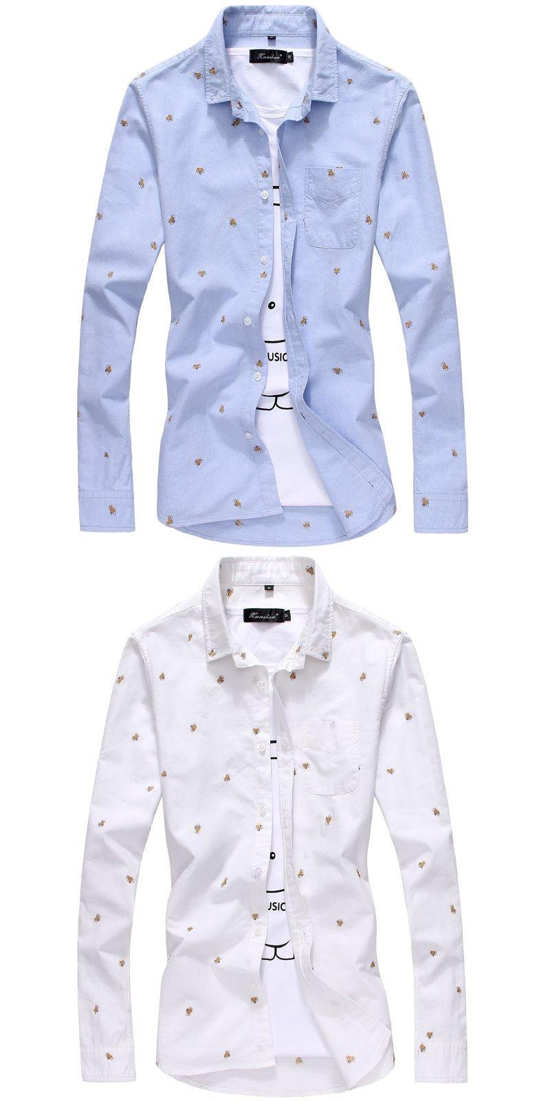 9acd8771715 korean style printed men dress shirts long sleeve casual cotton Slim  Stylish shirts Polka Dot Shirts