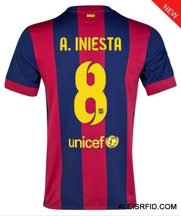 891a23b31fbb4 A.Iniesta Home Shirt  8 Red Royal Barcelona 2014 15-http