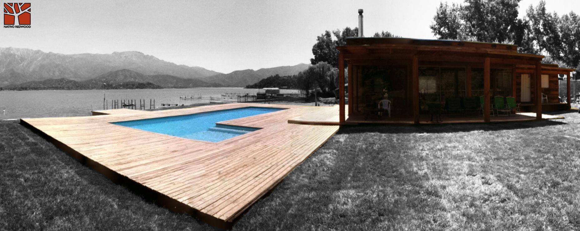 Nativo redwood terraza en casa en laguna aculeo - Terrazas de piscinas ...