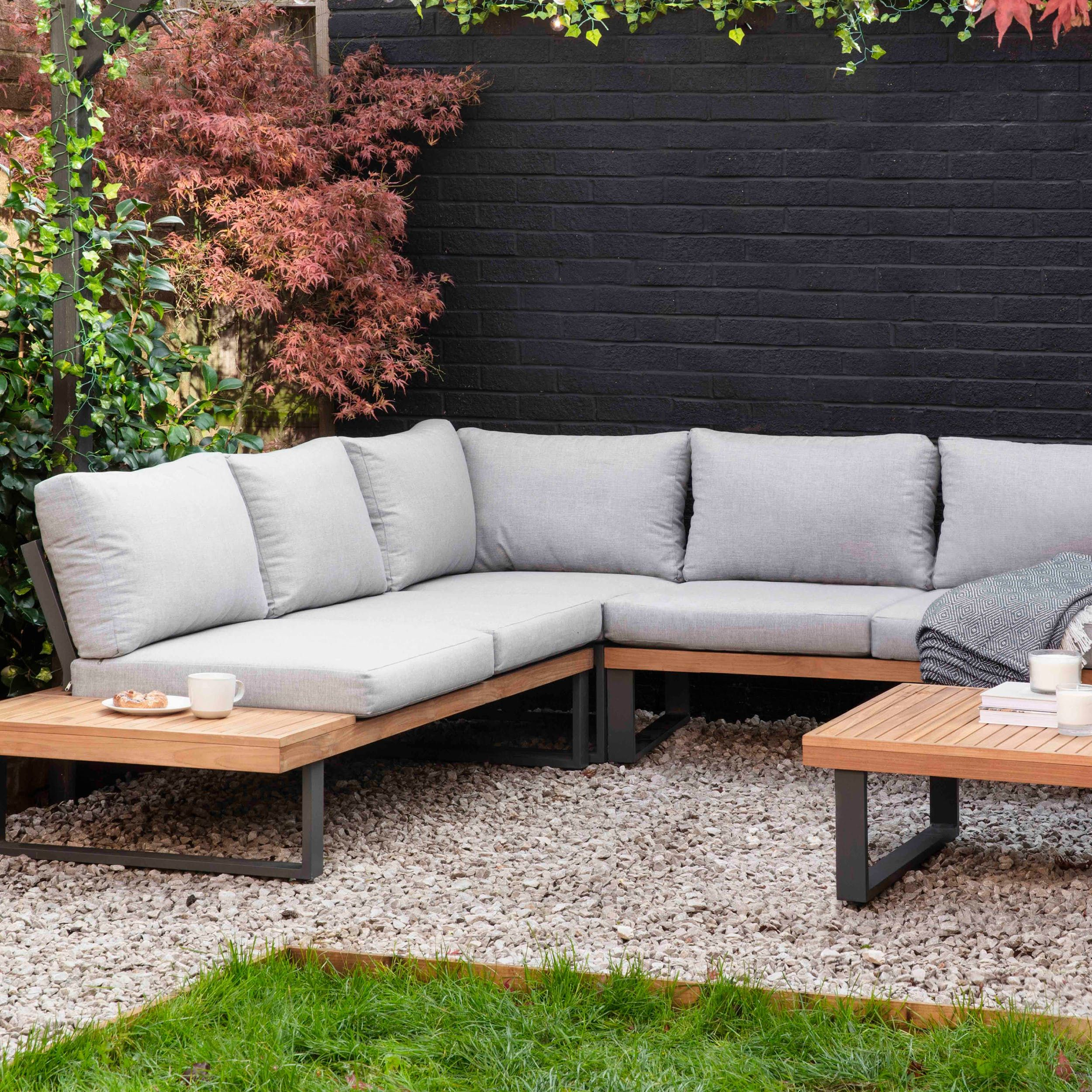 Sleek And Contemporary The Amberley Sofa Set Is The Perfect Fit For Modern Patio And Decking Areas Using Th In 2020 Garden Sofa Set Outdoor Sofa Sets Corner Sofa Set