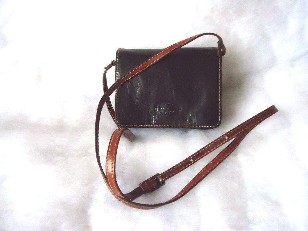 Womens Conte Di Cavour Black Tan Leather Shoulder Crossbody Bag Very Small