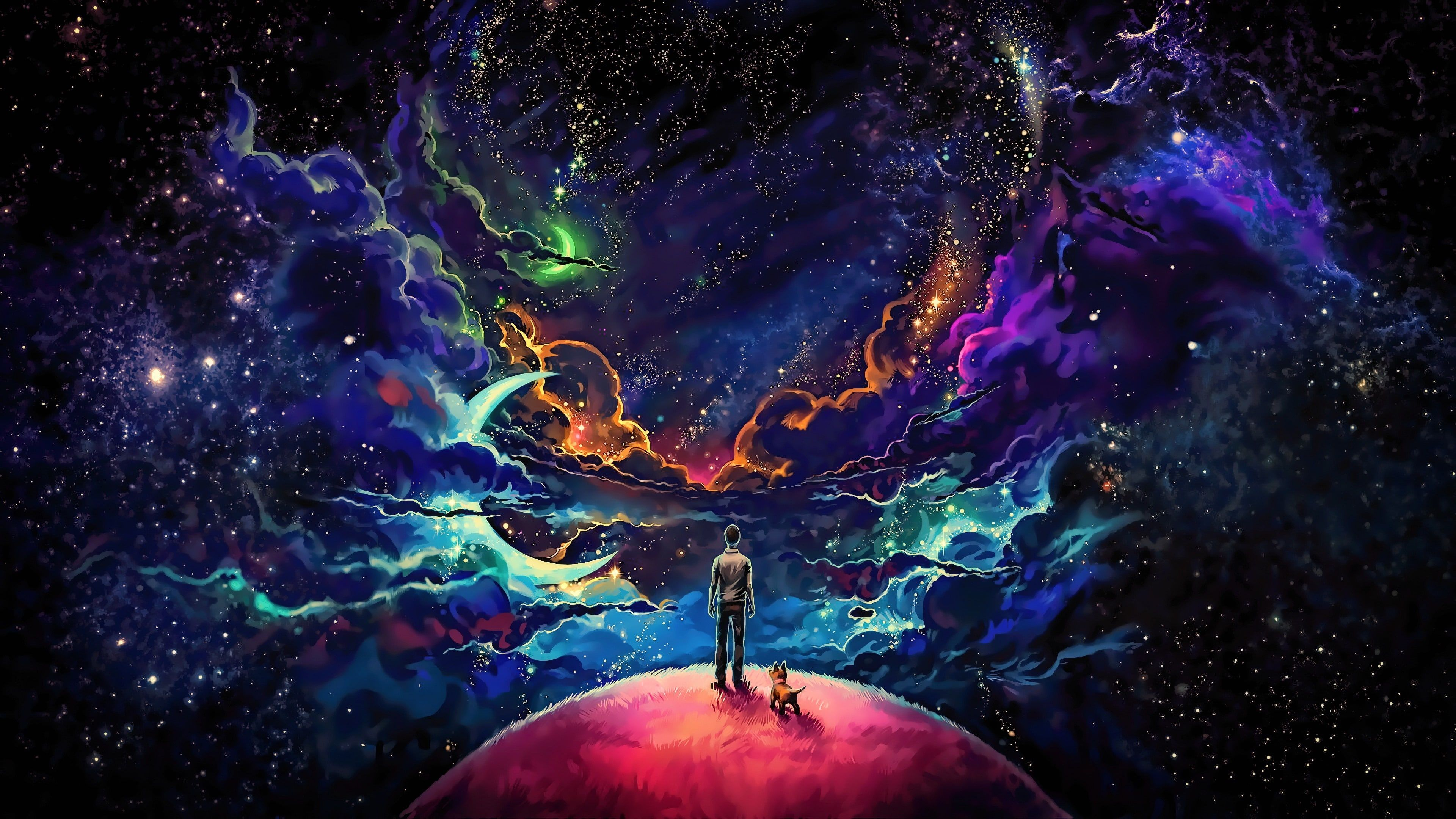 Little Prince Universe Science Fiction Fantasy Art Scifi Space Starry Galaxy Imagination Stars Graphics Pla Planet Painting Star Wallpaper Man And Dog