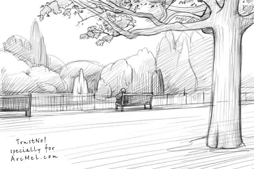 Draw Park Bench: How To Draw A Park Step 4