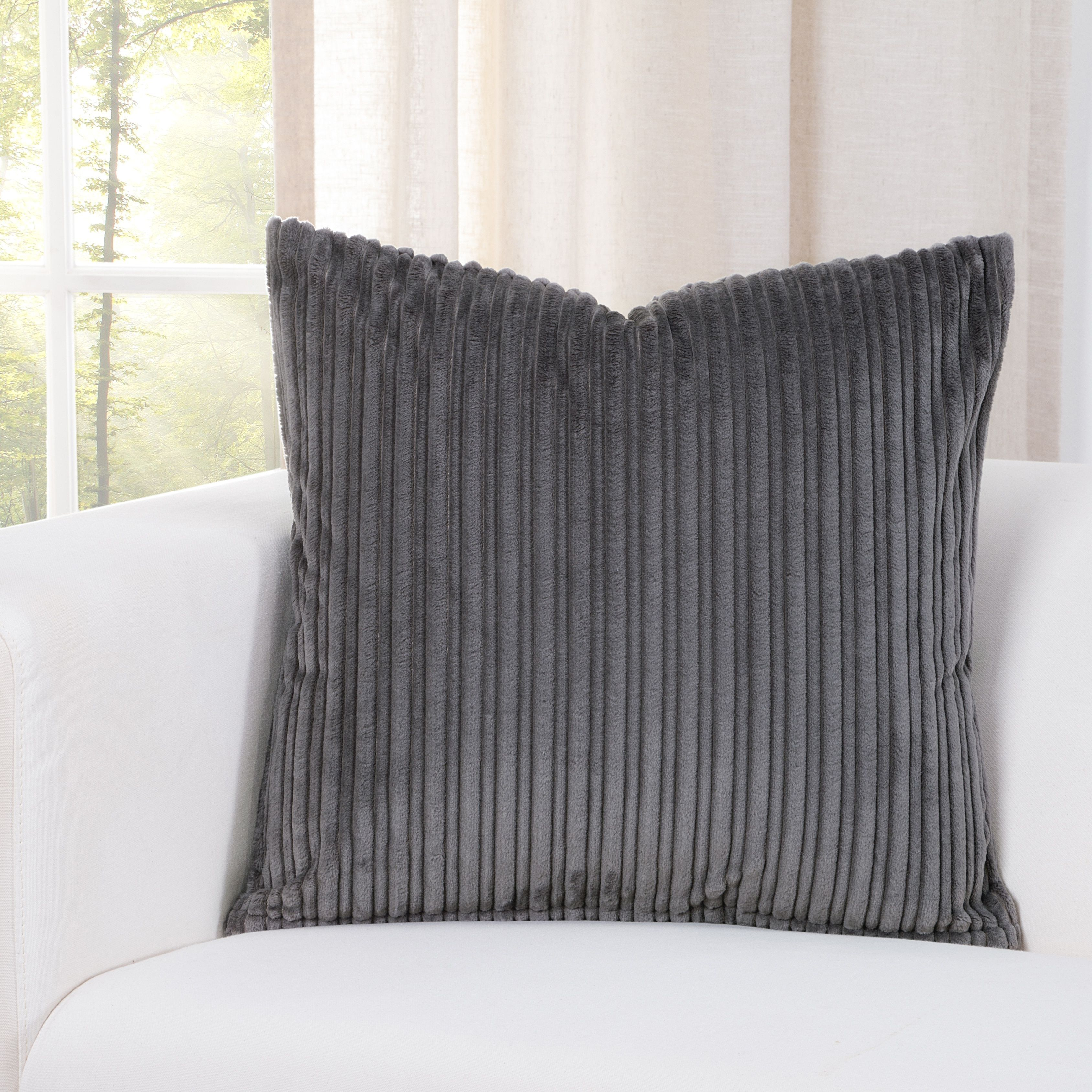 SIScovers Downy Storm Grey Accent Throw Pillows (26 x 26) (Polyester, Solid Color)