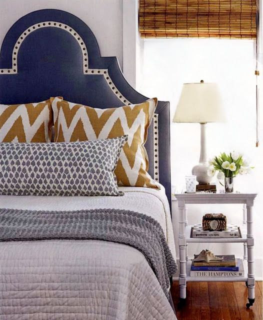 blue and gold. chevron. upholstered headboard. | BEDROOM ...