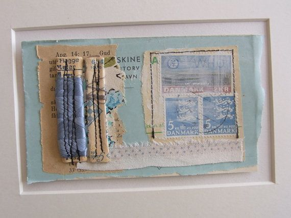 Original Collage  Faded Blue by tinybearstudio on Etsy, $17.00