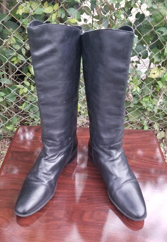 7b8c1583dcc S.z. 11 Tall Black Leather Riding Boots By Naturalizer Vintage 90 s ...
