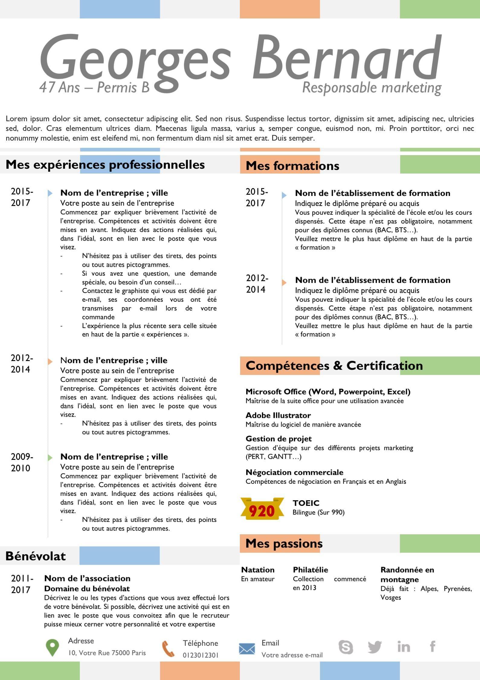 cv multicolore  cv bleu  cv orange  cv vert  cv avec pictogrammes  beau cv  cv design  cv