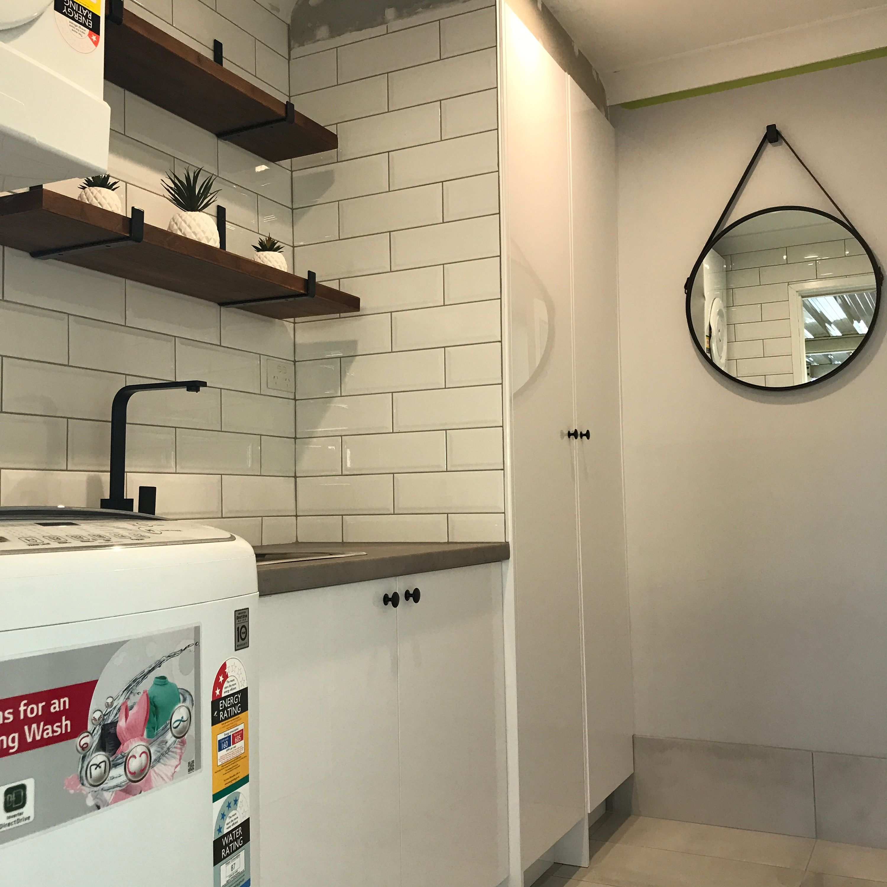 Laundry renovation using Matt grey tiles with subway wall tiles ...