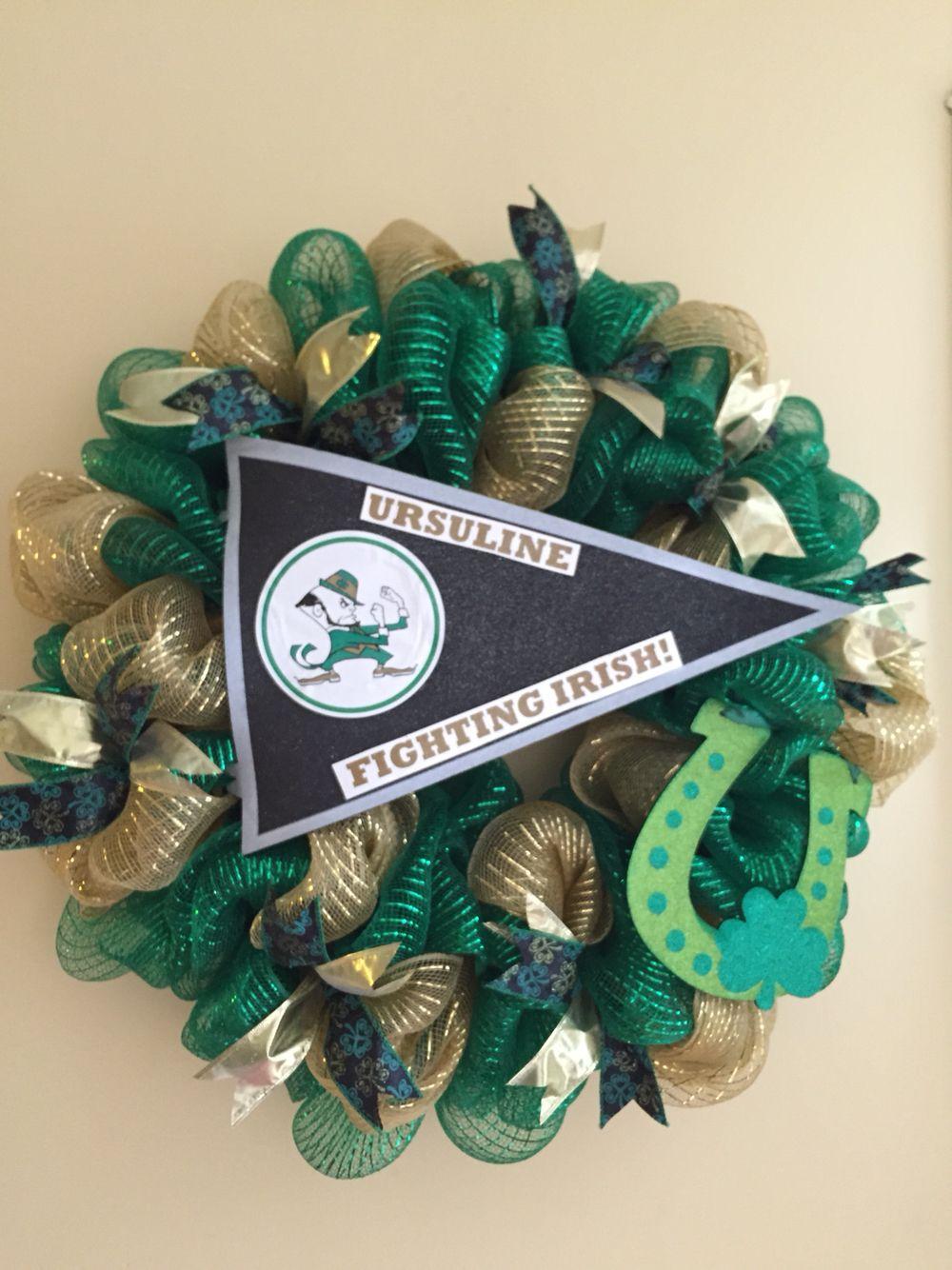 Ursuline high school wreath green and gold