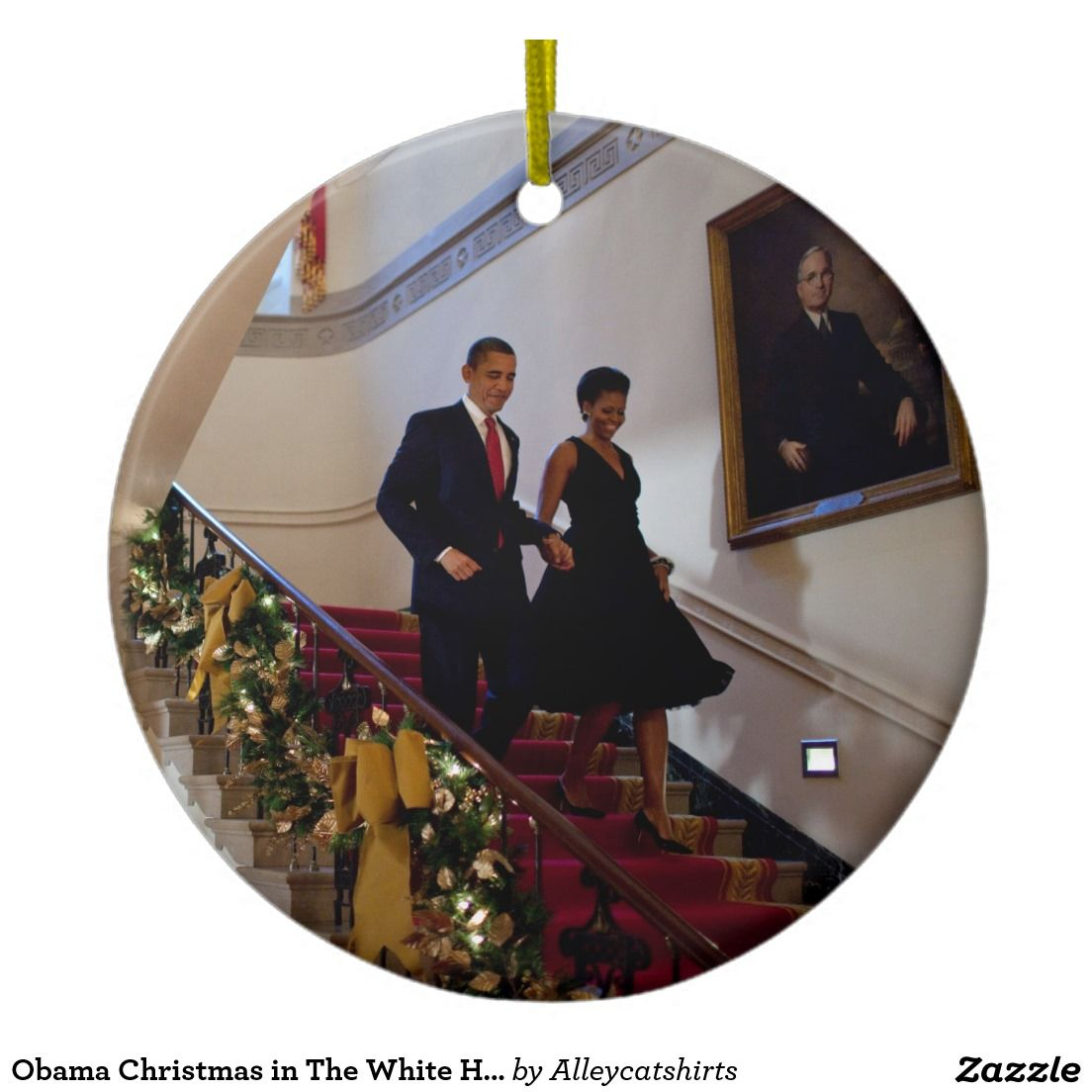 Obama Christmas in The White House Double-Sided Ceramic Round ...