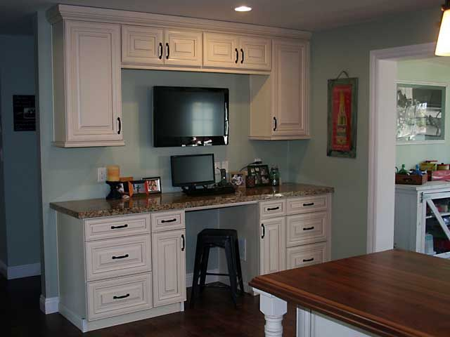 Gray Kitchen Walls With Cream Cabinets cream maple cabinets (kitchenspro) with pretty light blue