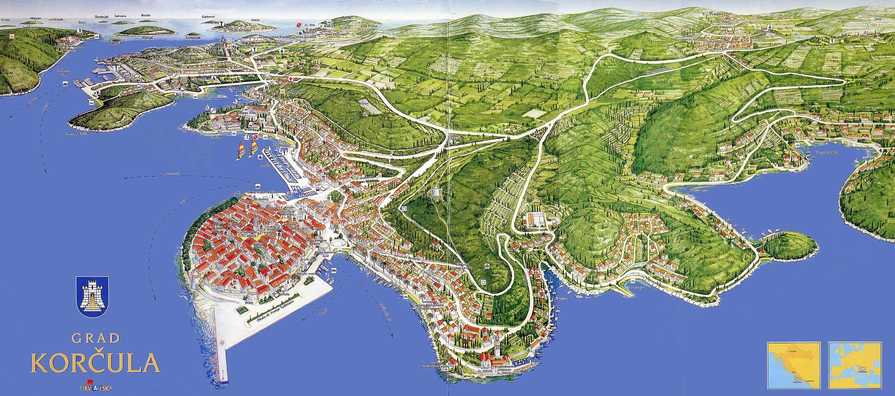 Korcula Map Of Korcula Town Island Korcula Croatia Dalmatia