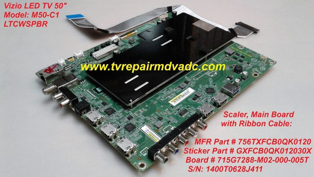756txfcb0qk0120  scaler board vizio m50-c1  tested  reset system tip