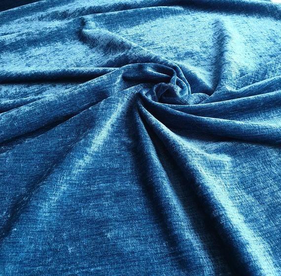 Aqua blue velvet velveteen deadstock upholstery fabric price large remnant