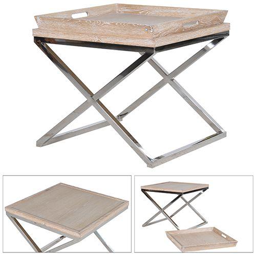 Oak And Steel Side Table With Tray Http://www.la Maison