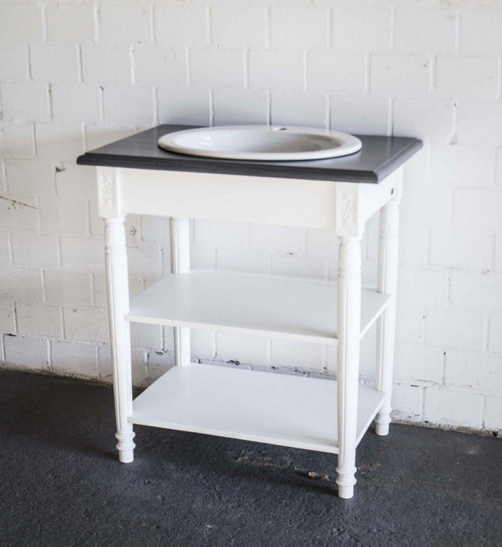 Waschtisch weiß-grau im Landhausstil, Badmöbel weiß - Waschtische ...