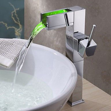 Rubinetti Lavandino Bagno Superficie Di Ottone Led Cascata Cromo Bathroom Sink Taps Bathroom Sink Faucets Sink