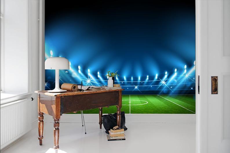 3d Empty Spotlights Soccer Field Wallpaper Removable Self Etsy Field Wallpaper Mural Wallpaper Wallpaper