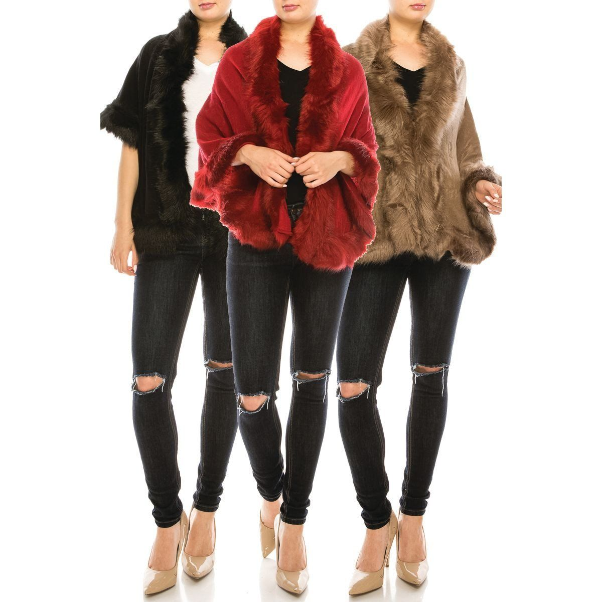Fur Pointed Shawl Cape - Fashion Fantasia