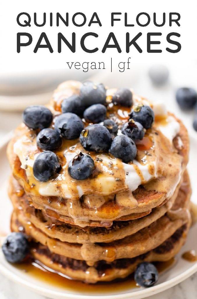The Best Quinoa Flour Pancakes Vegan Gluten Free Simply Quinoa Recipe Vegan Pancakes No Flour Pancakes Food