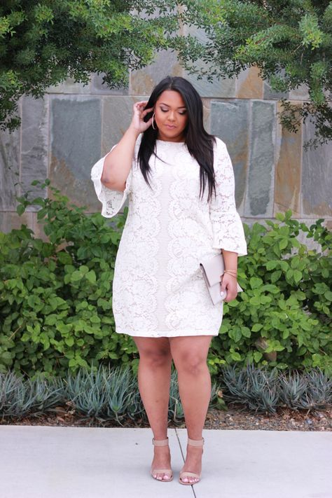 faf10770613 Curvy Style Inspiration  Lace and bell sleeves add a feminine and modern  touch to a little white dress.