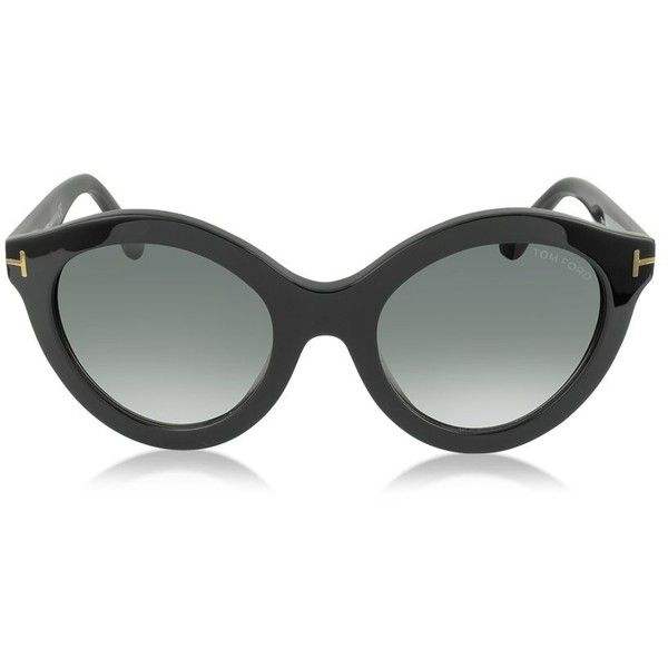 f89574e76343 Tom Ford CHIARA FT0359 01B Black Round Sunglasses ( 325) ❤ liked on  Polyvore featuring accessories