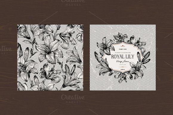Vector vintage set with B&W lilies by olga.korneeva on Creative Market
