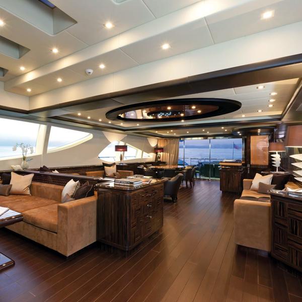 Living area aboard superyacht
