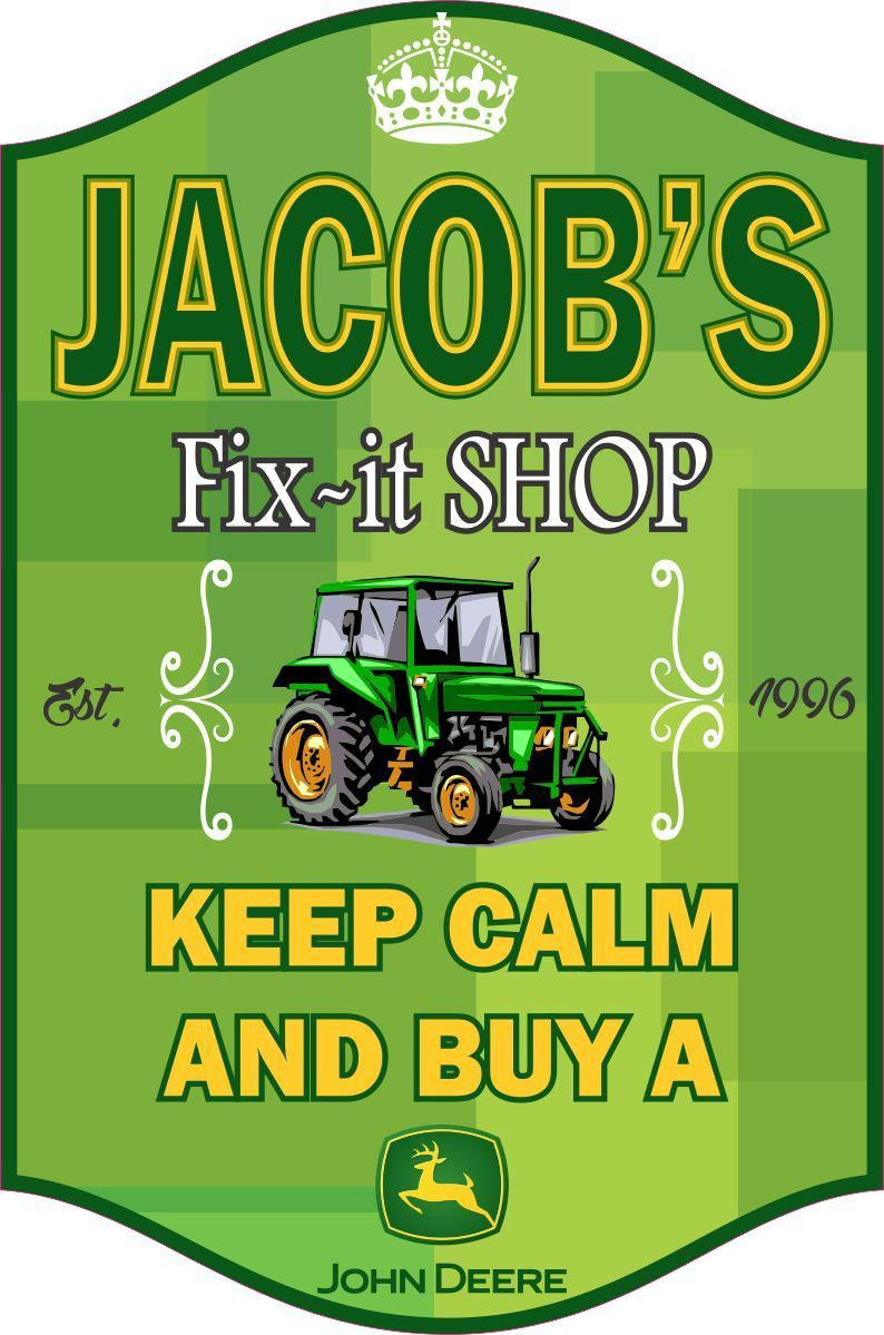 Personalized Funny Repair Or FixIt Shop Sign With Green Tractore