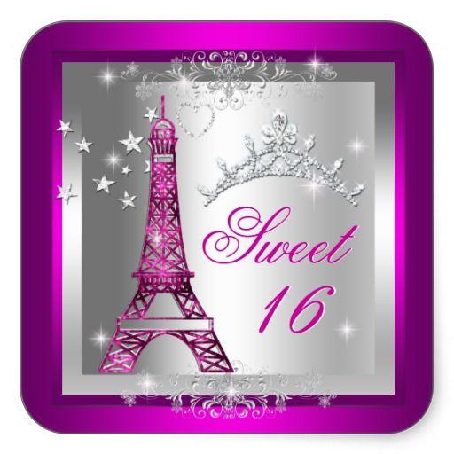 Sweet 16 Sweet Sixteen Pink Tiara Eiffel Tower Square Stickers by zizzago.com