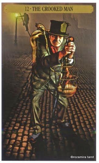 XII. The Hanged Man (The Crooked Man) - Sherlock Holmes Tarot by John Matthews and Wil Kinghan