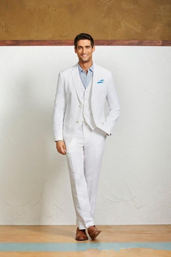 Casual summer linen men suits White men Beach wedding 3 Pieces ...
