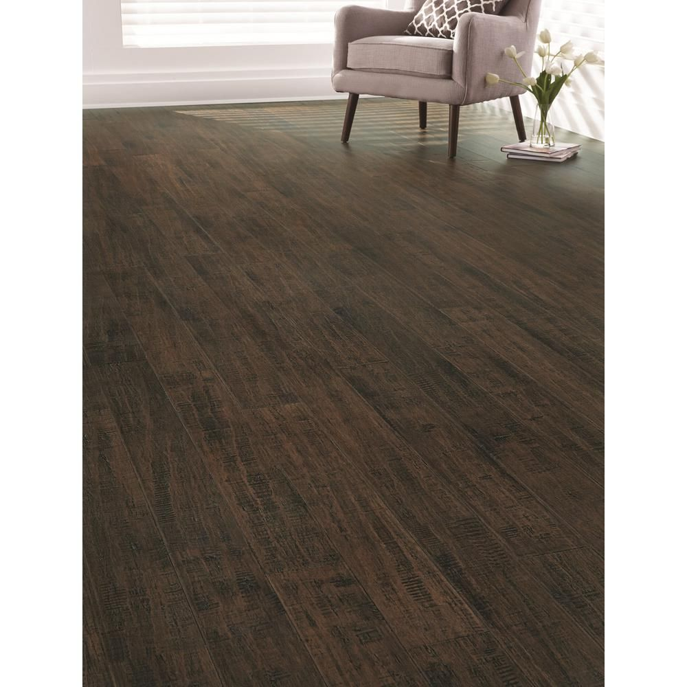 No Home Decorators Collection Handscraped Strand Woven Pecan 1 2 In Thick X 7 1 2 In W X 72 7 8 In L C Bamboo Flooring Engineered Bamboo Flooring Flooring