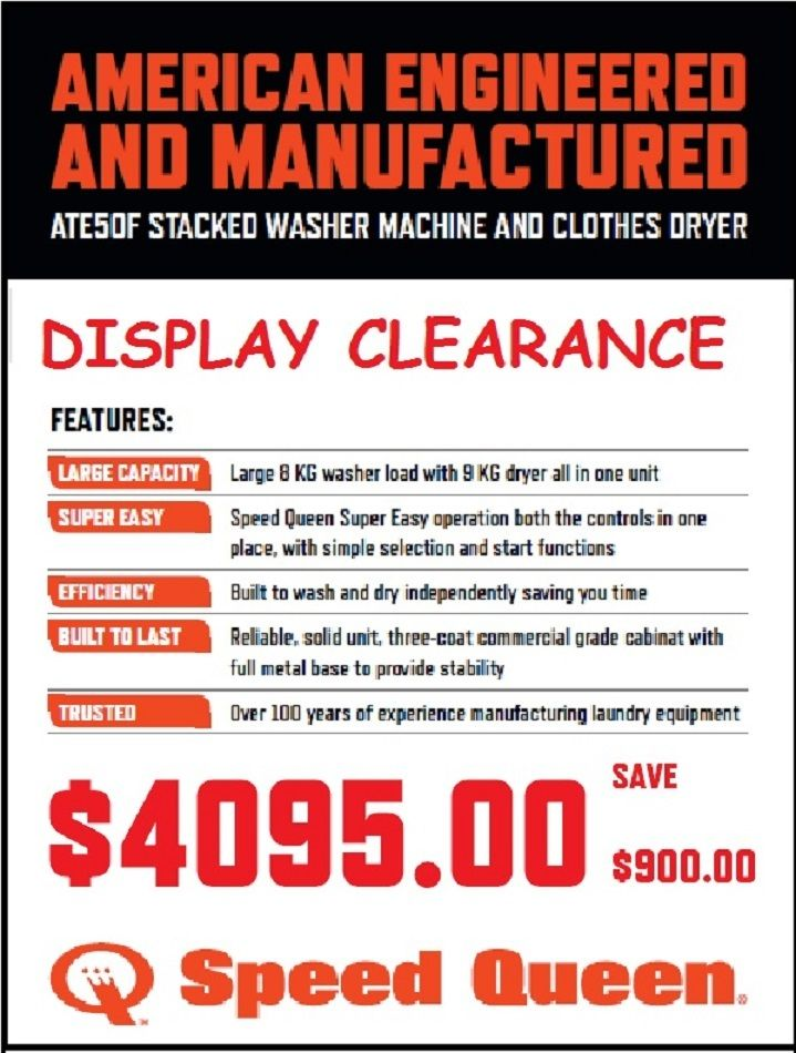 washer dryer clearance. Speed Queen - Washer \u0026 Dryer FLOOR STOCK CLEARANCE SALE Save Clearance