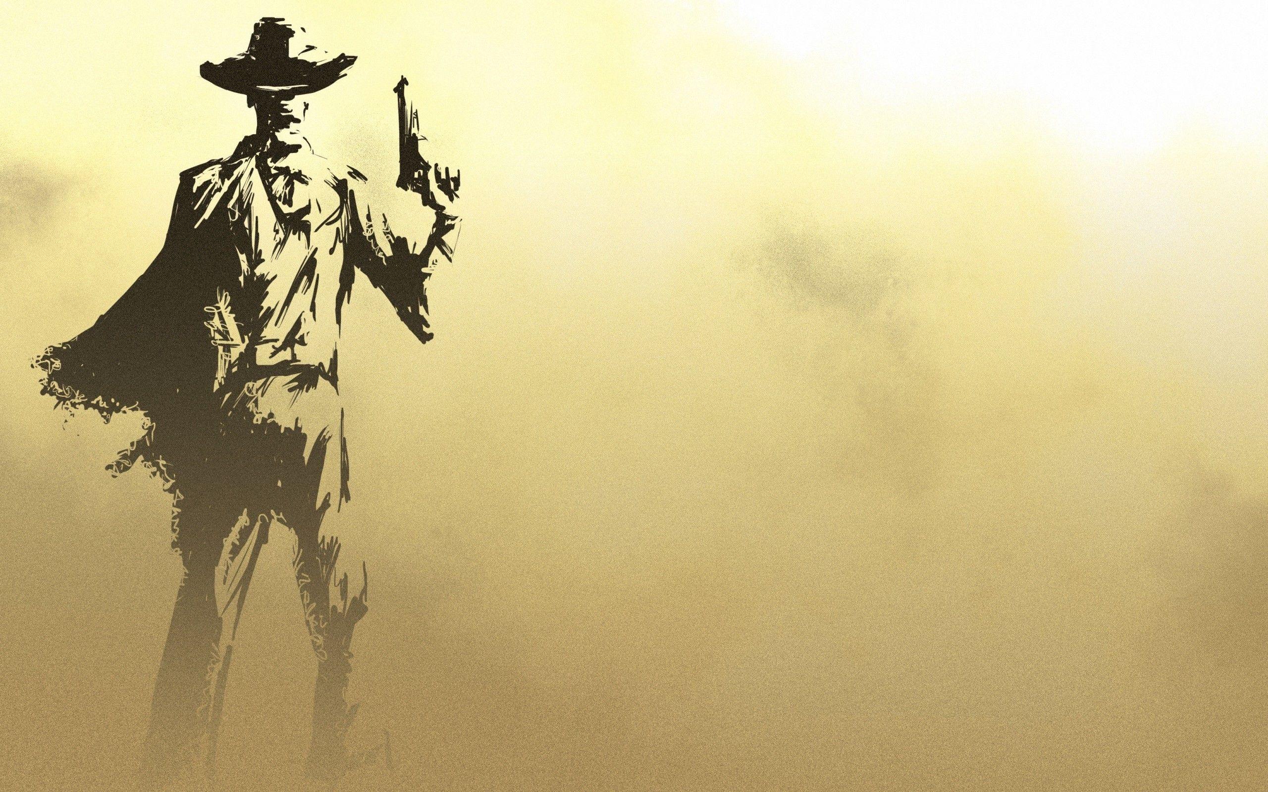 Minimalistic Sketched Gunslinger Cowboy Bebop Wallpapers Cowboy Pictures Widescreen Wallpaper
