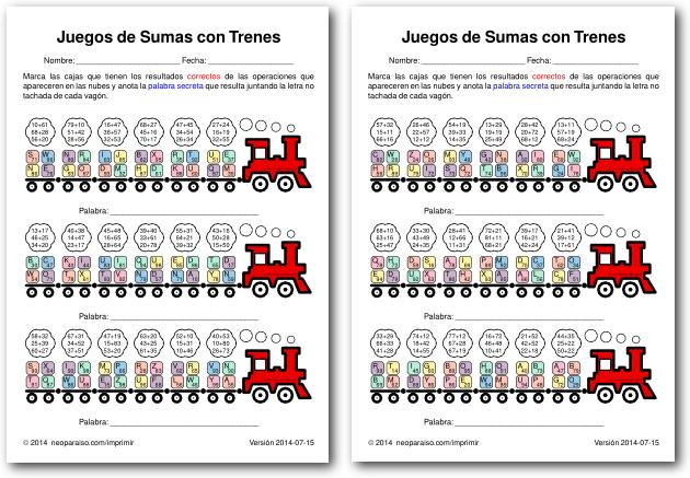 Juegos Matemáticos De Sumas Para Niños De Básico Juegos De Trenes De Sumas Para Imprimir Juegos De Divisiones Ejercicios De Divisiones Juegos De Matemáticas