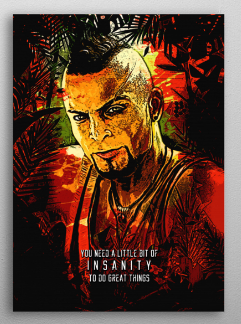 Vaas Montenegro Insanity Gaming Poster Print Metal Posters