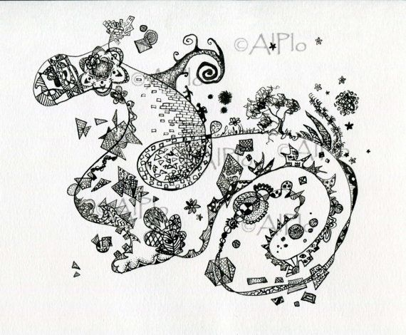 Original Ink Abstract Painting Dragon Black White