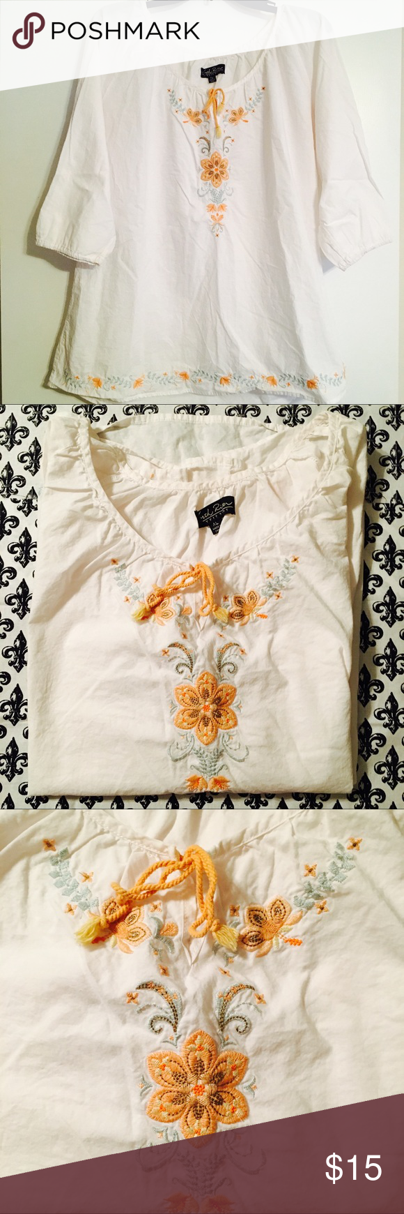 North River Embroidered Flora Boho Peasant Top Pinterest
