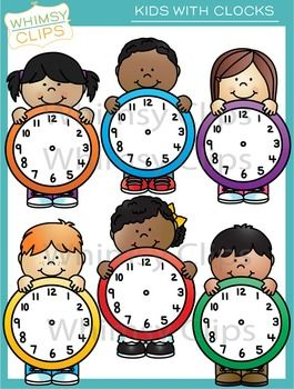 Kids With Clocks Clip Art Clip Art Clock Art
