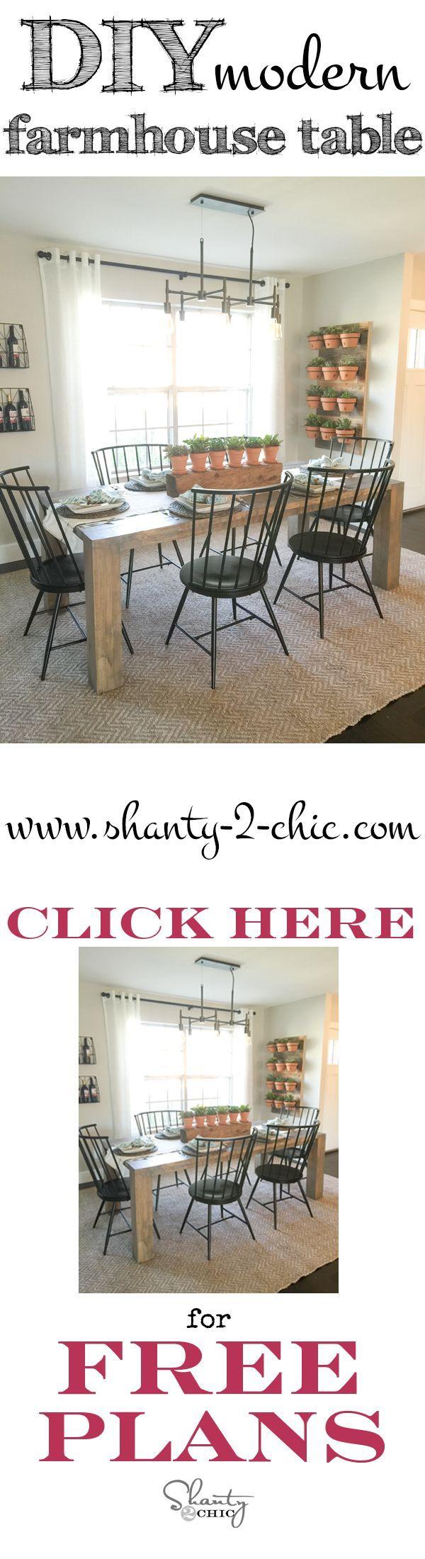 DIY Modern Farmhouse Table as seen on HGTV Open Concept - Shanty 2 Chic