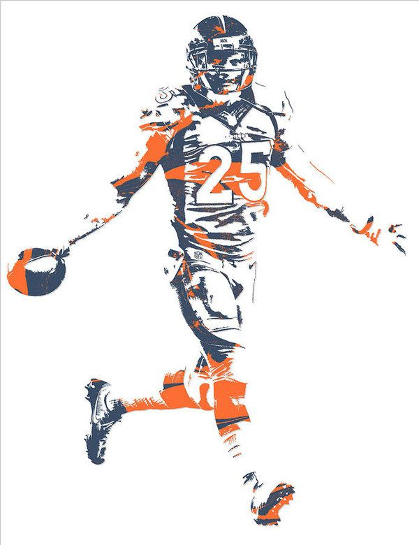 Chris Harris Jr Denver Broncos Pixel Art 6 Art Print By Joe