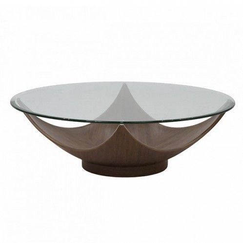 Bowl Walnut Cocktail Table Modern Furniture Living Room Modern