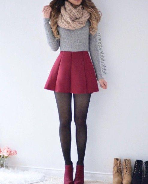 Jupe: rouge, gris, gris, pull gris, haut, haut gris, chemise, collants, noir, rouge s …