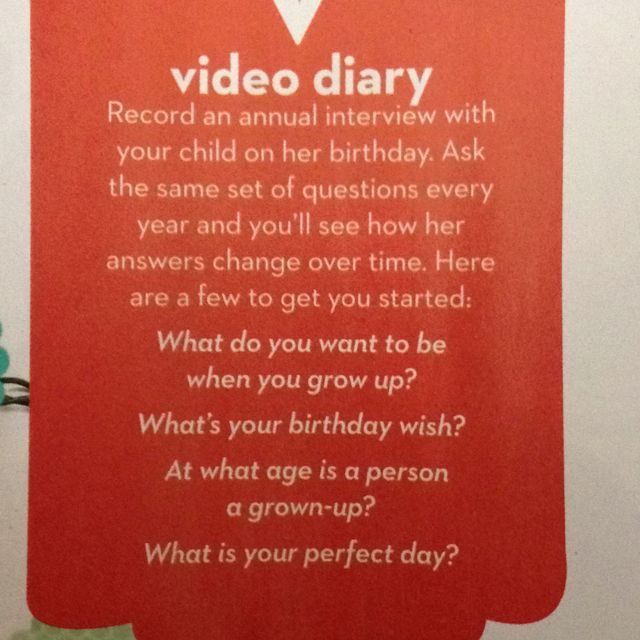 Child birthday party idea video each year with these questions