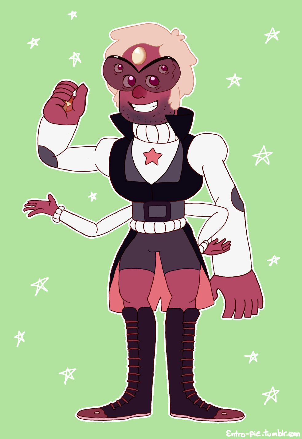 """entro-pie: """"Just for fun I doodled a Sardonyx for merrigel 's crystal pines au. I can just picture Ford telling Dipper to stop crying about fusing with his hero. :P """""""