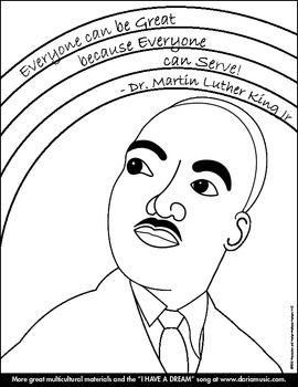 a simple coloring page that features an image of the rev dr martin luther king jr along with a very special and inspiring quote everyone can be great