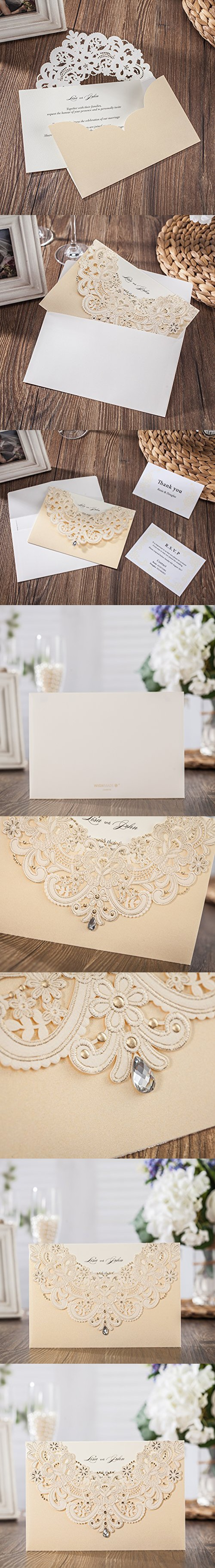 wishmade 100x gold laser cut flora lace wedding invitations kit