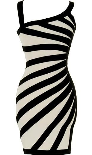 Contrast Beams Dress: Features an elegant asymmetrical neckline with wide tank-style straps, brilliant white body with contrasting black bands stretched across the front, solid black backside, and a beckoning body-conscious fit to finish.